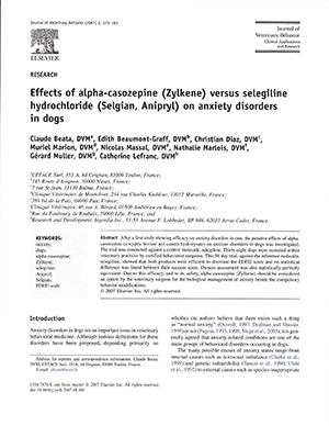 STUDY: Effects of alpha-casozepine (Zylkene) versus selegiline hydrochtoride (Setgian, Anipryt) on anxiety disorders in dogs