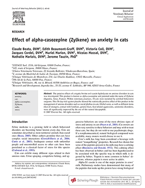 STUDY: Effect of alpha-casozepine (Zylkene) on anxiety in cats