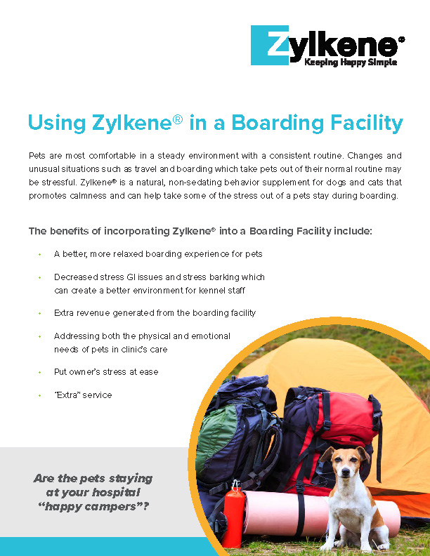 Using Zylkene in a Boarding Facility